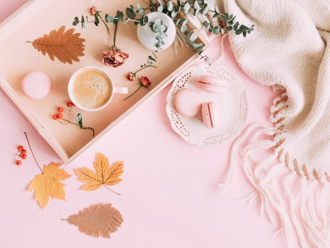 Autumn home cozy composition. Cup of coffee and macaroon, warm knitted plaid, yellow leaves and flowers on a light pink pastel background. Flat lay, top view, copy space