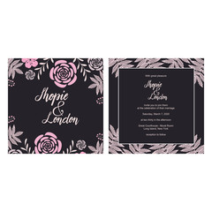Wedding Invitation Greeting Card Template Elegant Floral