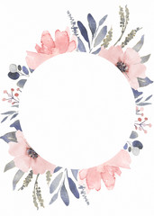 Wall Mural - Frame composition decorated with dusty pink watercolor flowers and eucalyptus greenery