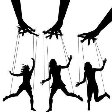 Manipulating arms controlling puppet silhouettes