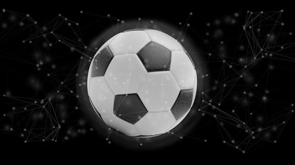 Football ball and connection isolated on a background 3d rendering
