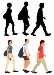 Wall Mural - vector, isolated, walking people silhouette