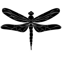 vector, isolated, silhouette of dragonfly