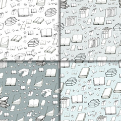 Seamless vector doodle pattern set with books. Four library hand drawn sketchy backgrounds. Reading and education concept.