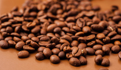 Closeup of coffee beans background