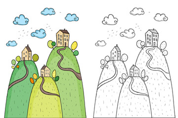 Illustration of houses with trees on hill
