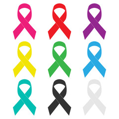 Set, colorful realistic ribbons on white background. Symbol ribbons for awareness.