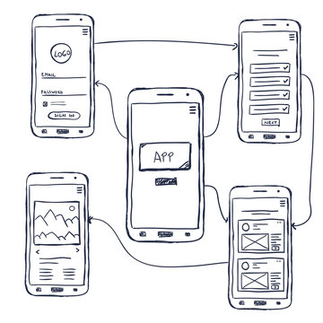 UI mobile app wireframe doodle