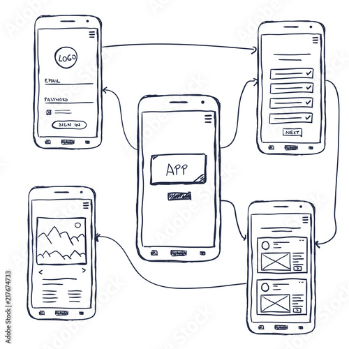 """""""UI Mobile App Wireframe Doodle"""" Stock Image And Royalty"""