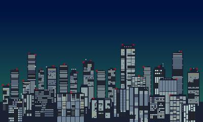 夜間の高層ビル群の航空障害灯の赤い光