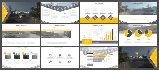Set, yellow, black elements of infographics, white background.Templates, presentations.Slide set.Use business presentations, corporate reports, marketing,advertising,anniversaries, booklets,banners