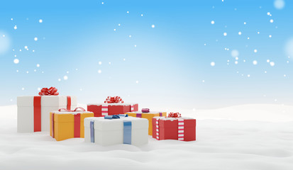 christmas gifts winter snow background 3d-illustration