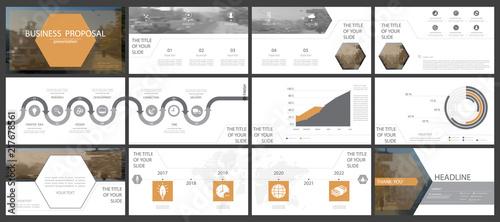 a set of orange black elements of infographics white background