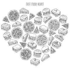 Vector illustrations on the fast food theme; set of different kinds of burgers, pizzas and sandwiches. Pictures are depicted as dark sketches on a white background grouped in the heart.