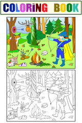 Children color, white and black arrow in the forest with animals