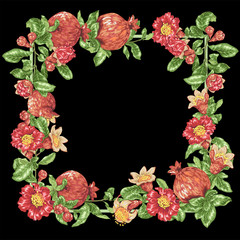 Decorative border vector frame wreath with pomegranate fruits and flowers
