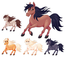 Door stickers kids room Set of different cartoon horses