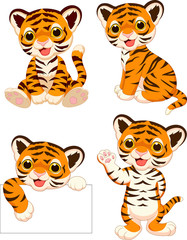 Cartoon baby tigers collection set