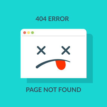 404 error. Concept of page not found or web site under construction or maintenance like browser with dead emoji. Cartoon flat minimal trend modern simple logo graphic design.