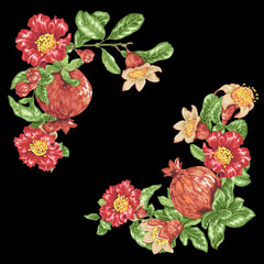 Decorative border for corner vector with pomegranate fruits and flowers
