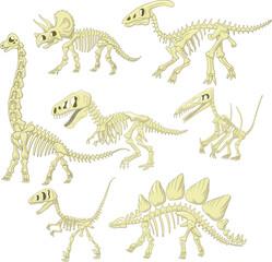 Cartoon dinosaurs skeleton collection set