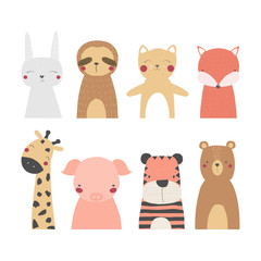 Set of cute wild animals. Vector hand drawn illustration.