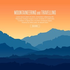 Printed roller blinds Green blue Vector landscape with blue silhouettes of mountains and hills with beautiful orange evening sky. Mountaineering and travelling background with huge mountain range silhouettes in twilight.