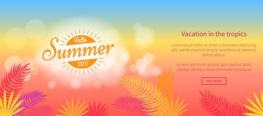 Hello Summer 2017 Vacation in Tropics Vector Web