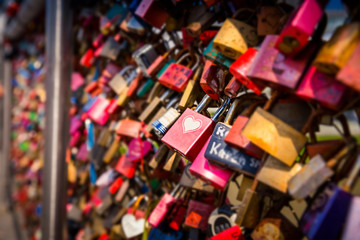 Love locks, on the bridge, detail photo