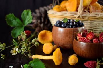 Strawberries, bilberries and chanterelles. Freshly picked forest berries and mushrooms