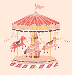 Old-fashioned style carousel, roundabout or merry-go-round with horses. Amusement ride for children's entertainment decorated with garlands. Colorful vector illustration in flat cartoon style.