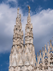 Milan, Italy - June 2018 : Famous Milan Cathedral (Duomo di Milano), view of the architecture details