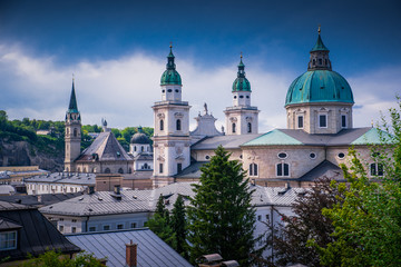 Historic city of Salzburg with famous Salzburg Cathedral