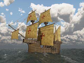 Portugiesische Karavelle des fünfzehnten Jahrhunderts