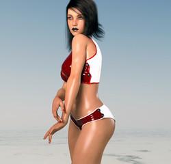Frau in verführerischer Pose im Bikini am Meer