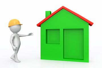 3D Figur mit Schutzhelm und Wohnhaus