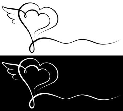 Condolence Card Black Heart & Wing
