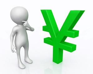 3D Figur mit Währungssymbol Yen