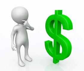 3D Figur mit Dollar Zeichen