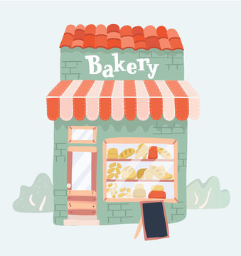 Bakery shop front view.
