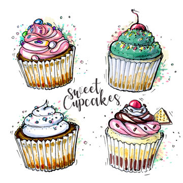 Sketched cupcakes collection