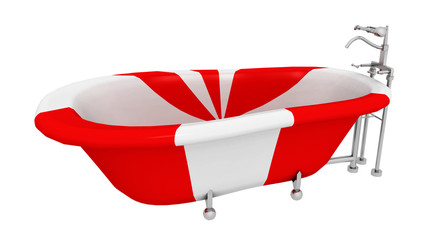 Moderne rot weiß gestreifte Badewanne, Freisteller
