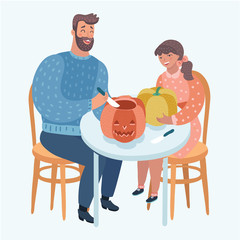 Father and child carve a pumpkin for Halloween.
