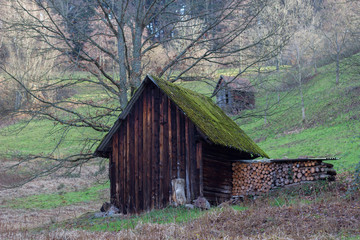Wooden hay huts or cabins are used for storing hay and food for the animals during the hard winter time in the Black Forest and are placed every 100 meters in that area near Baiersbronn