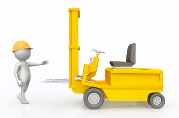 3D figure with forklift truck