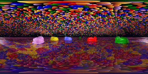 360 Grad Panorama mit Autoscootern und Luftballons