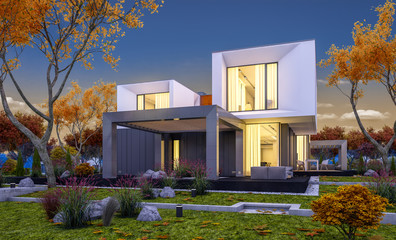 3d rendering of modern cozy house in the garden with garage for sale or rent with beautiful trees on background. Cool autumn evening with soft lights from windows.