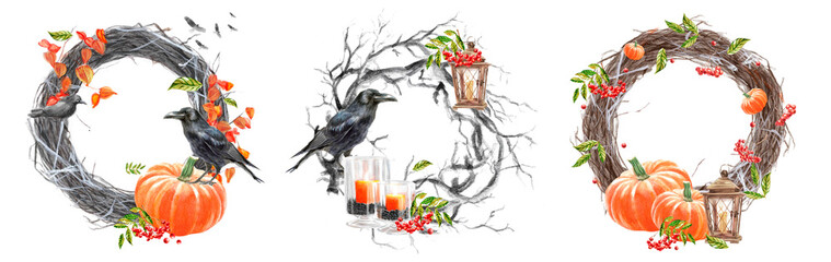"Happy Halloween and thanksgiving day, autumn watercolor frames or cards for the holiday ""halloween"" with a pumpkin, a wreath and a crow, illustrations of objects for posters and banners"