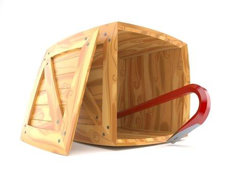 Crowbar inside wooden crate
