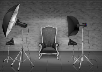 Vector background, photo studio with empty armchair and gray brick wall, lamps, umbrella diffuser and softboxes on tripods. Room mockup with modern lighting equipment for professional photography